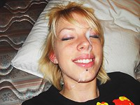 Emo chick gives Blowjob with facial