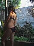 Cute Latin amateur outdoor sexy strip