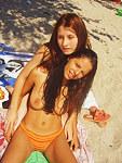 Hot Latina goddess topless on beach
