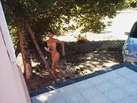 Latina teen is naked at home