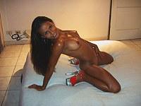 Nude Latin gf shows nude oiled body