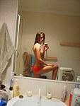 Self shot sexy girl make show on mirror