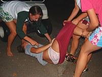 Teens voyeured in group lesbian fun