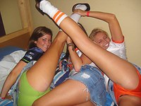 Amateur groups of lusty teens in action