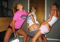 Teens in blowjob and lesbian fun