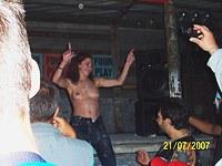Dancing teens at bar