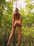 Blonde teen poses naked for me outdoor