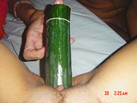 He fucks me with cucumber and cock