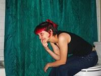 Redhead emo teen flashing her pussy