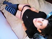 Petite teen latina rubs herself