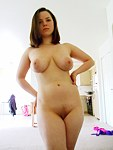 Cumshot video with buxom brunette
