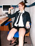 Sexy secretary showing cameltoe up her skirt