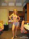 Arousing blonde girl in sexy underwear