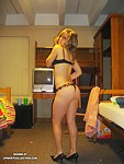 Arousing blonde girl in sexy underwear