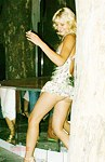 Playful blonde hot upskirt show
