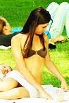 Girl in bra sexy thong upskirt