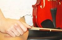 Upskirt white of violin player