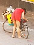 Amateur on bike horny upskirt