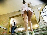 Admire girls upskirt on stairs