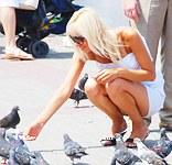 Upskirt of blonde feeding doves