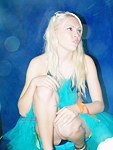 Blonde bikini panty up skirt