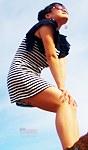 Striped dress up skirt on rock