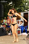 Sexy bikini babe street dances