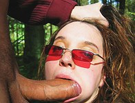 Girl sucks and swallows in the park