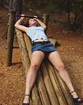Topless photos with upskirt glances