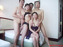 Group sex with Asian amateur babes