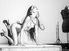 Naked couple black and white poses