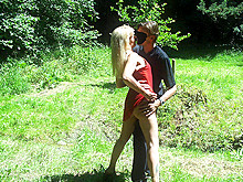 Outdoor sex in the wood for Coco the whore and 2 clients