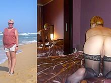 Dressed/undressed mature slut Oxana