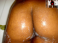 Shaved ebony black pussy spreading and closeup