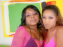 Two black lesbians weared in pink lingerie are playing with dildo vibrator