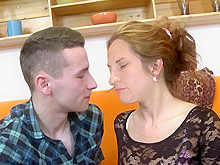 brunette in stockings fucked by young guy